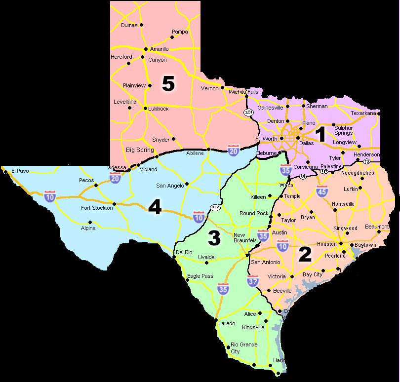 Texas Marshal Association › Region Map